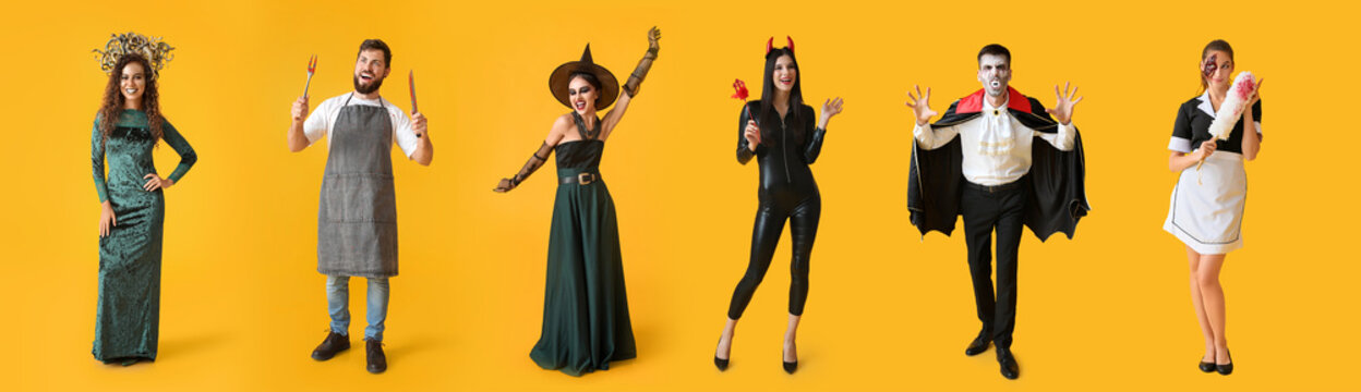 Beautiful young woman in Halloween costume on color background