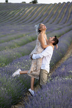 Couple in love in the lavender fields