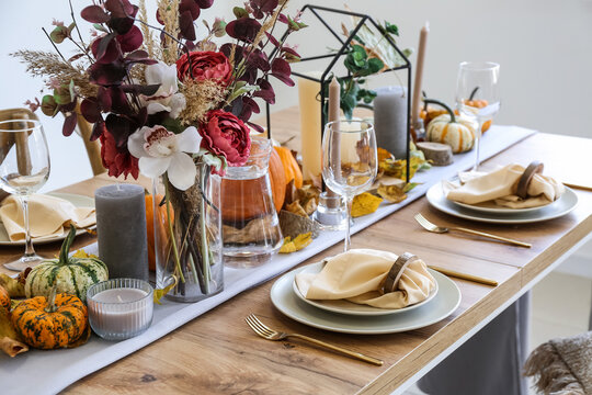 Beautiful table setting for Thanksgiving Day dinner at home