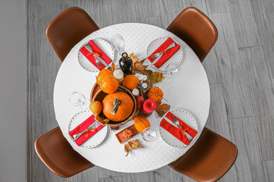 Beautiful table setting for Thanksgiving Day dinner at home, top view