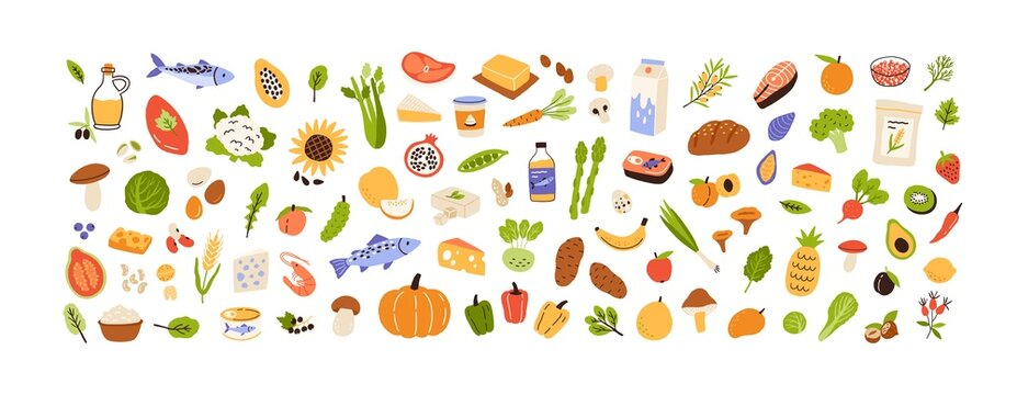 Healthy food set. Vegetables, fruits, milk, mushrooms and fish collection. Natural organic nutrition. Fresh vitamin grocery products. Colored flat vector illustration isolated on white background