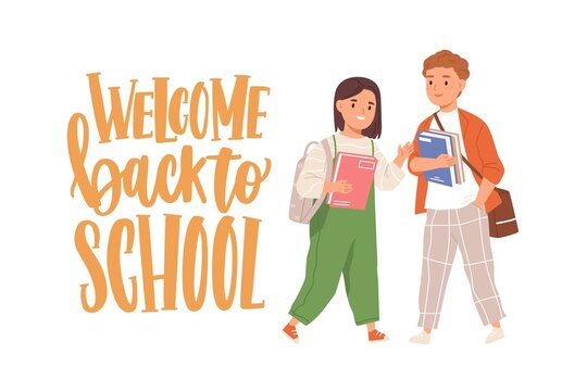 Happy children with books and bags and Welcome Back to School lettering. Junior schoolkids smiling. Girl and boy with schoolbags. Colored flat vector illustration of kids isolated on white background