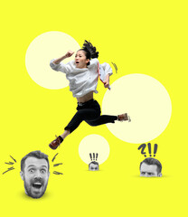 Obraz Modern design, contemporary art collage. Inspiration, idea, trendy urban magazine style. Young asian girl running over heads of colleagues - fototapety do salonu