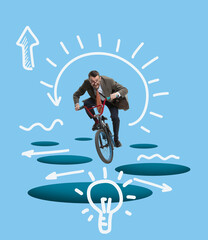 Fototapeta Contemporary art collage. Business concept. Composition with young man riding on bike and generate new business ideas. obraz