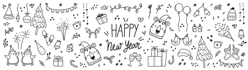 Fototapeta Happy new year cute doodle vector set. Tiger year hand drawn design with , love, floral, birds, Christmas tree , firework, balloon, penguin, rainbow, winter hats, sock, gloves, gifts and star. EPS10. obraz