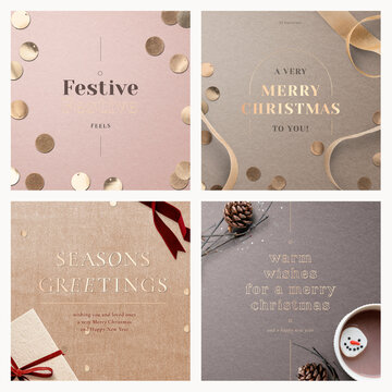 Christmas social media template vector set