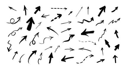 Fototapeta Vector set of hand drawn grunge arrows obraz