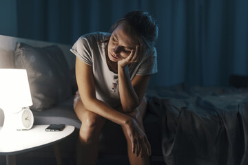 Fototapeta Exhausted woman suffering from insomnia obraz