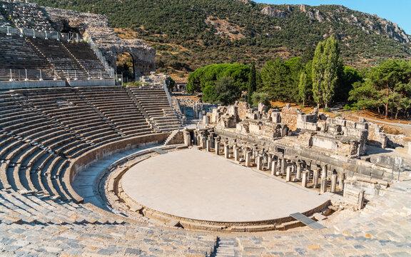 Ancient Theater of Ephesus in Turkey. Ancient greek ruins