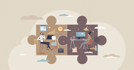 Fototapeta Hybrid work with part time job from home and office tiny person concept. Scheduled workspace location for flexibility and efficiency vector illustration. Productive distant workplace as jigsaw puzzle. obraz