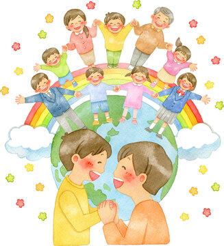 手を握り合う親子と手を繋ぐ笑顔の人々、地球と虹