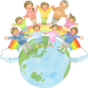 手を繋ぐ笑顔の人々と地球と虹