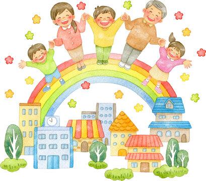 手を繋ぐ笑顔の人々と虹の架かる街並み(花付き)