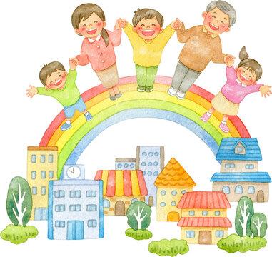 手を繋ぐ笑顔の人々と虹の架かる街並み