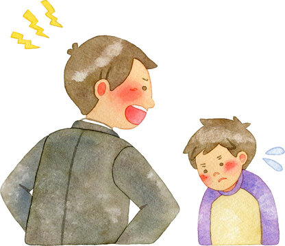 生徒を叱る先生(右向き)
