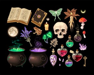 Fototapeta Big vector set of witch craft supplies obraz
