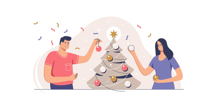 Christmas tree decoration. Smiling couple are decorating xmas tree for celebrating merry christmas and happy new year. Preparation for xmas party.  Vector illustration.