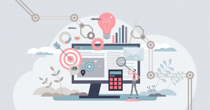Marketing automation with scheduled social media posts tiny person concept. Reach target audience with content generation for online platform vector illustration. Optimization and efficiency web tool.