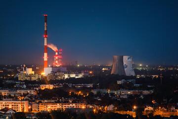 Fototapeta refinery at night obraz