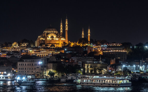 Side view of Suleymaniye Mosque in the night time