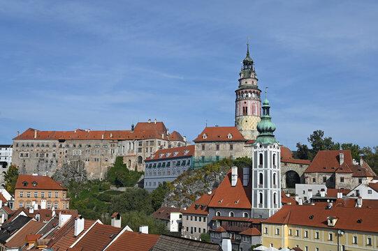 old town and castle in Cesky Krumlov cityscape Czech republic