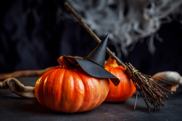 The mystical room of the witch. A decorative photo for Halloween with a hat, pumpkins and a broom....
