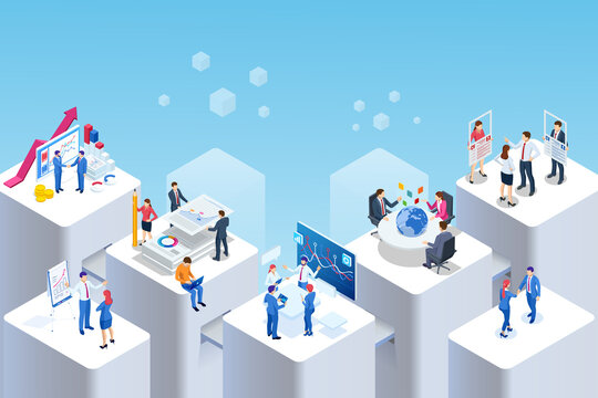 Isometric Expert team for Data Analysis, Business Statistic, Management, Consulting, Marketing. Communication and contemporary marketing. Corporate people working together
