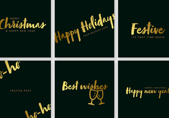 Obraz Dark Green Social Media Posts with Gold Typography - fototapety do salonu