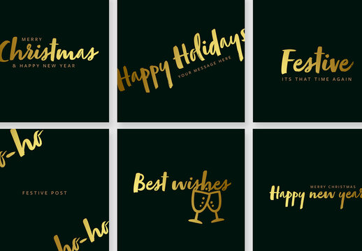 Dark Green Social Media Posts with Gold Typography