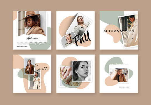 Minimalist Social Layouts with Earth Tones Accent