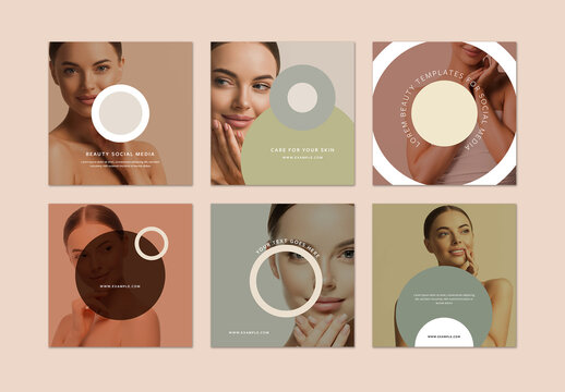 Trendy Social Media Layouts with Earth Tone Overlays