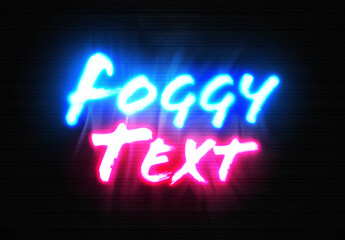 Obraz Neon Sign Text Mockup with Glowing Foggy Effect - fototapety do salonu