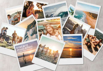 Obraz Instant Photo Effect Collage Mockup - fototapety do salonu