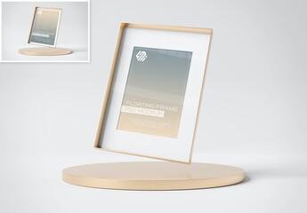 Fototapeta Photo Frame Mockup Floating Over Gold Podium Display obraz