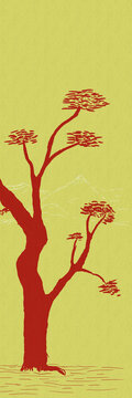 Design: abstract drawing of a red tree on a yellow/gold background.