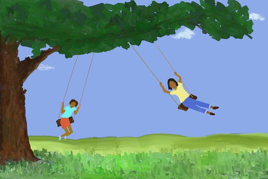 Design: Painting of two children in swings suspended from the sturdy branch of a large tree.