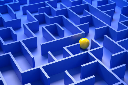 Concept - solving a complex problem. Blue maze and floor with yellow sphere.