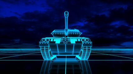 Fototapeta a neon glowing tank in a digital world (3d rendering) obraz