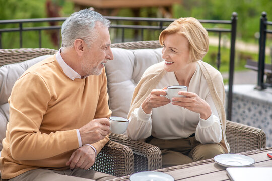Married mature Caucasian couple enjoying each others company
