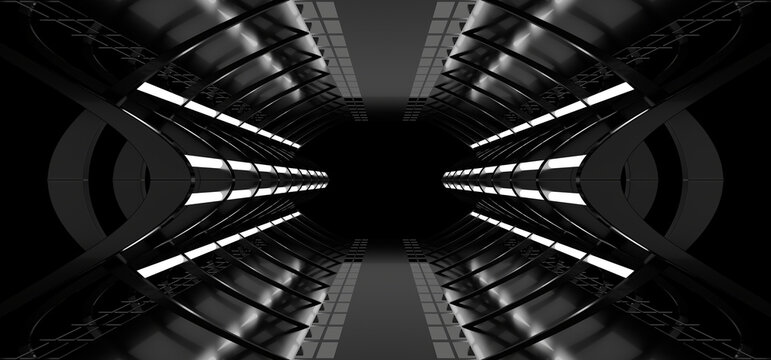 A dark tunnel lit by white neon lights. Reflections on the floor and walls. 3d rendering image.