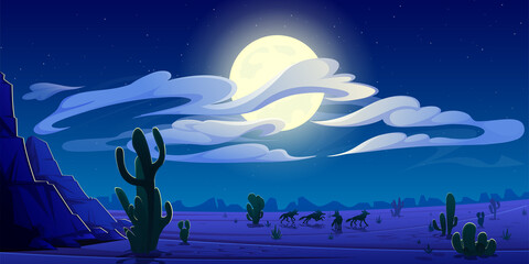 Obraz Arizona night desert landscape, natural wild west background with coyote pack silhouettes run on through cacti and rocks under cloudy sky with full moon shining, game scene Cartoon vector illustration - fototapety do salonu