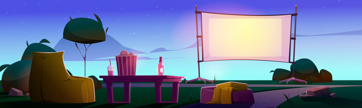 Open air cinema on lawn with big screen, chairs and table at evening. Vector cartoon illustration of backyard or public park with equipment for outdoor movie theater at summer night