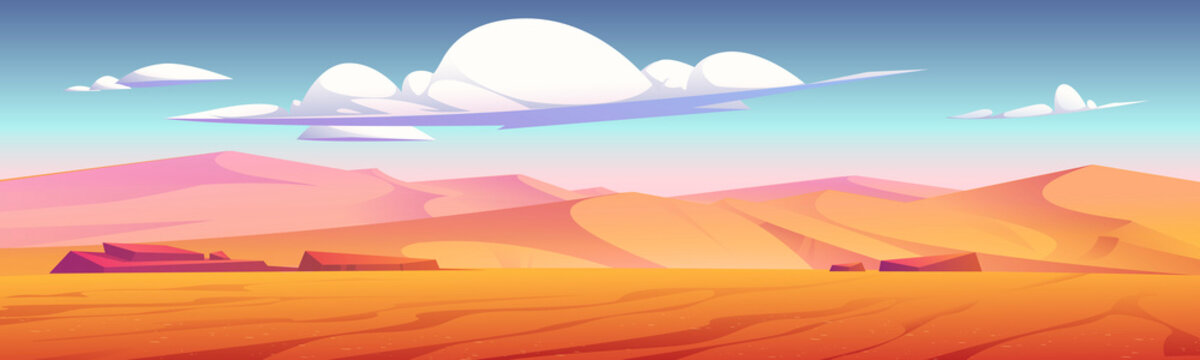 Desert landscape with golden sand dunes and stones under blue cloudy sky. Hot dry deserted african or mexican nature background with yellow sandy hills parallax scene, Cartoon vector illustration