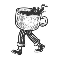 Fototapeta Walking coffee cup sketch raster illustration obraz