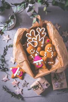 Gingerbread cookies for Christmas in cookie box with stars