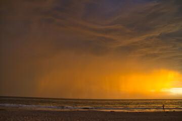 Lightning storm at sunset in Carpinteria