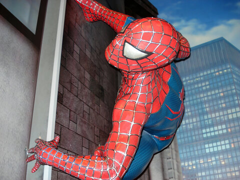 Amsterdam - Netherlands - August 8, 2015: The amazing Spider-Man life size statue in the Madame Tussauds museum in Amsterdam.