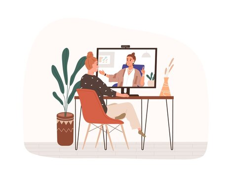 People chatting during online video call. Happy woman sitting by computer and talking to person on screen through internet. Virtual communication concept. Flat vector illustration isolated on white