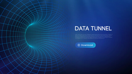 Obraz Big data tunnel vector illustration. Abstract digital background. Computer data tunnel technology. Sorting data and network security. Innovation technology business abstract background. - fototapety do salonu