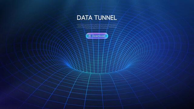 Big data tunnel vector illustration. Abstract digital background. Computer data tunnel technology. Sorting data and network security. Innovation technology business abstract background.